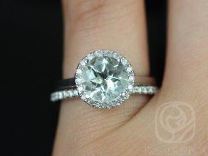 Monique 8mm 14kt White Gold Round Green Amethyst and Diamonds Halo Wedding Set