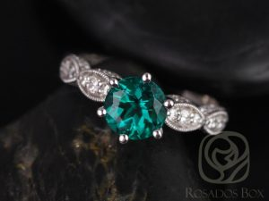 Beatrice 7mm 14kt White Gold Round Green Emerald Diamonds Vintage Cathedral Leaves Engagement Ring