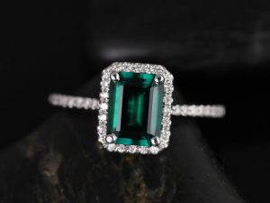 Esmeralda 8x6mm 14kt White Gold Rectangle Emerald and Diamond Halo Engagement Ring