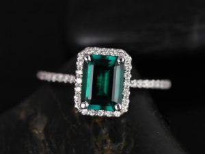 Esmeralda 8x6mm 14kt White Gold Rectangle Emerald and Diamond Halo Engagement Ring