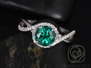 Maritza 7mm 14kt White Gold Round Emerald and Diamonds Halo Twist Engagement Ring