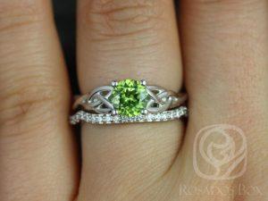 Cassidy 6mm White Gold Round Peridot & Diamonds Celtic Knot Wedding Set