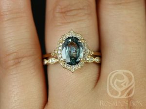 Mae 1.92cts & Christie 14kt Yellow Gold Oval Chrome Seafoam Teal Sapphire and Diamond Halo Wedding Set