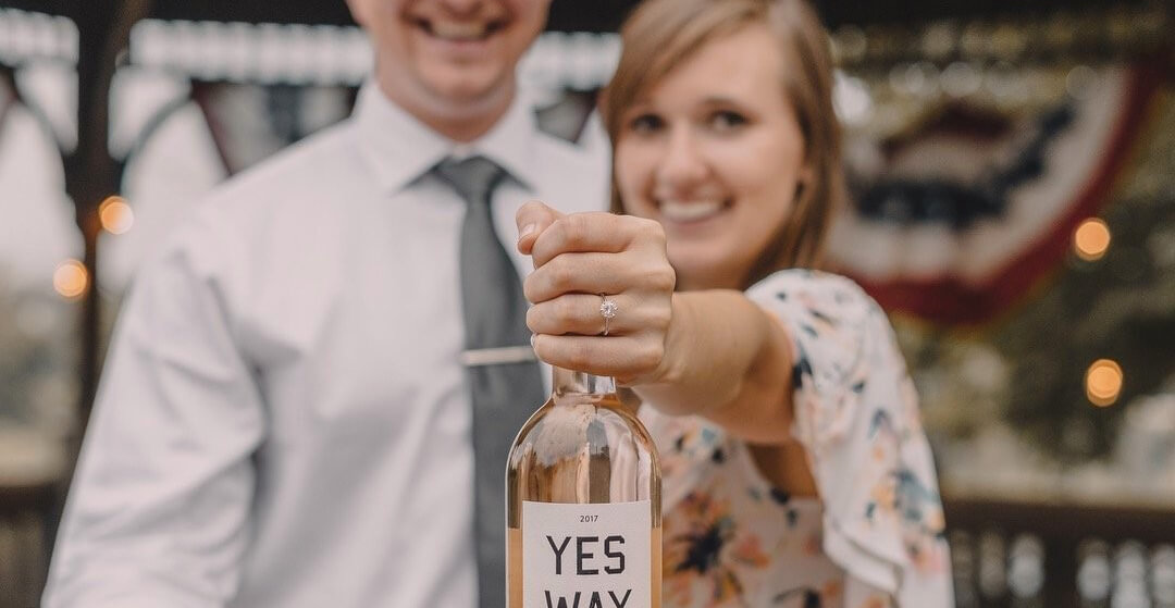 Celebrating an engagement with wine