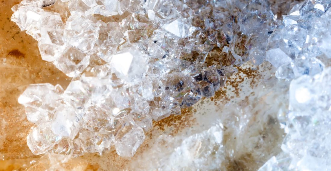 Macro of raw mineral quartz