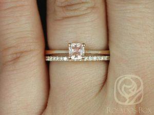 Gallina 0.45cts & DIA Barra 14kt Rose Gold Cushion Peach Champagne Sapphire Wedding Set