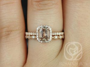 Romani 7x5mm & Ultra Petite Bead Eye 14kt Rose Gold Oregon Sunstone and Diamond Halo Wedding Set