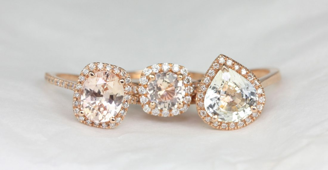 Rose gold engagement rings with halo settings