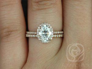 Rebecca 8x6mm 14kt Rose Gold Oval F1- Moissanite and Diamond Halo Classic Wedding Set