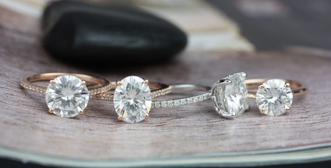 Round and oval gemstone engagement rings