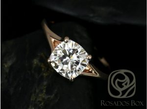 A Khaleesi style moissanite engagement ring by Love & Promise Jewelers.