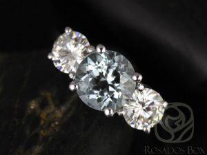 Robyn 7mm 14kt White Gold Round Aquamarine F1- Moissanites 3 Stone Engagement Ring