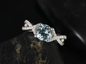 Emma 7mm 14kt White Gold Round Aquamarine & Diamonds Vintage Pave Engagement Ring