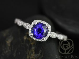 Christie 6mm 14kt White Gold Round Blue Sapphire and Diamond Cushion Halo WITH Milgrain Engagement Ring