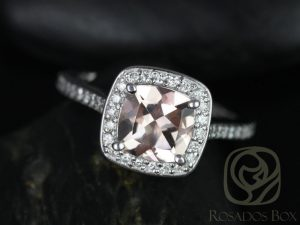 Hollie 7mm 14kt White Gold Cushion Morganite and Diamond Halo Engagement Ring