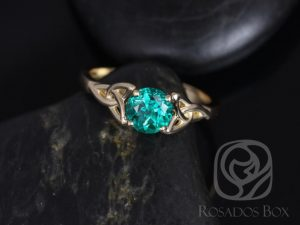Teagan 6mm 14kt Yellow Gold Round Emerald Celtic Knot Triquetra Engagement Ring