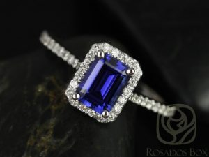 Lisette 7x5mm 14kt White Gold Rectangle Emerald Cut Blue Sapphire and Diamonds Halo Engagement Ring