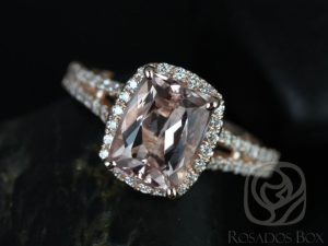 Rosy 9x7mm 14kt Rose Gold Rectangle Cushion Morganite and Diamonds Halo Split Band Engagement Ring