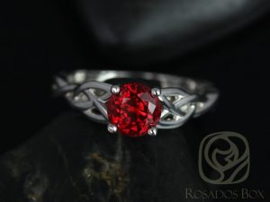 Cassidy 6mm 14kt White Gold Round Ruby Celtic Knot Engagement Ring