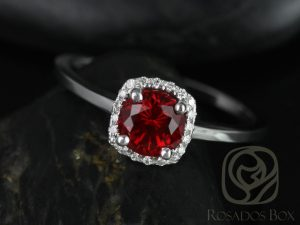 Bella 6mm 14kt White Gold Round Ruby and Diamonds Cushion Halo Plain Band Engagement Ring