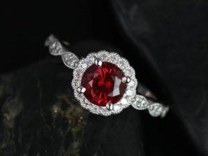 Sunny 6mm 14kt White Gold Crimson Ruby & Diamond Flower Halo WITH Milgrain Engagement Ring