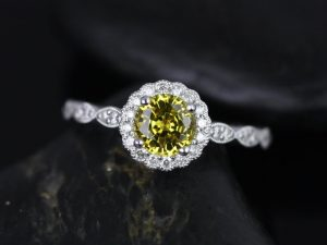 Sunny 6mm 14kt White Gold Yellow Sapphire & Diamond Flower Halo WITH Milgrain Engagement Ring