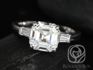 Fae 8mm 14kt White Gold Asscher F1- Moissanite and Diamond Baguette Engagement Ring