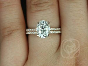 Hillary 9x7mm 14kt Rose Gold Oval F1- Moissanite and Diamond Basket Engagement Ring