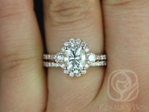 Bridgette 8x6mm 14kt Rose Gold Oval F1- Moissanite and Diamonds Halo Wedding Set