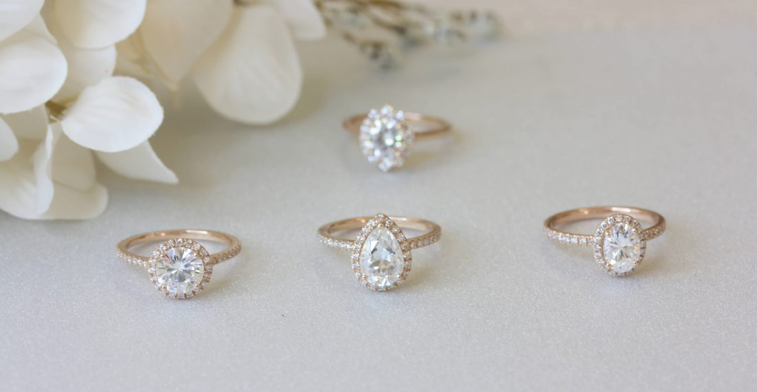 Celestial engagement rings with halo settings