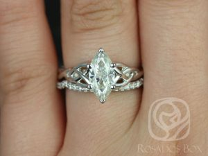 Mara 11x5.5mm 14kt White Gold Marquise FB Moissanite Celtic Knot Wedding Set
