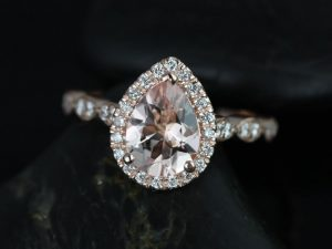 Sydney 9x7mm 14kt Rose Gold Pear Morganite and Diamonds Halo and Leaves WITH Milgrain Engagement Ring