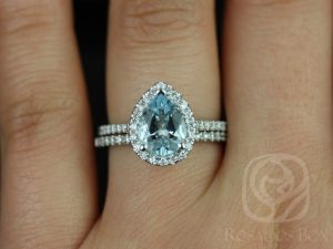 Tabitha 9x7mm 14kt White Gold Pear Aquamarine and Diamonds Halo Wedding Set