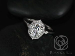 Mae 8x6mm 14kt YELLOW Gold Oval F1- Moissanite and Diamond Halo WITH Milgrain Engagement Ring