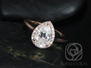 Jorie 10x7mm 14kt Rose Gold Pear F1- Moissanite and Diamonds Extra Low Profile Halo Engagement Ring