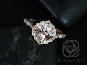 Rosados Box Lucille 7mm 14kt Rose Gold Morganite Halo Engagement Ring w/ Diamond WITH Milgrain