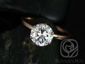 Rosados Box Elaine 8mm 14kt Rose Gold Round F1- Moissanite Six-Prong Skinny Engagement Ring