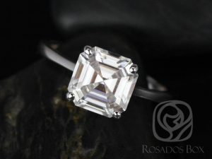 Skinny Denise 8mm 14kt White Gold Asscher F1- Moissanite Tulip Cathedral Solitaire Engagement Ring
