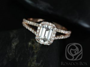 Yessi 7x5mm 14kt Rose Gold Emerald F1- Moissanite and Diamonds Split Band Halo Engagement Ring