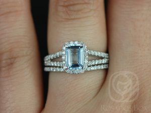 Yessi 7x5mm 14kt White Gold Emerald Aquamarine and Diamonds Split Band Halo Wedding Set
