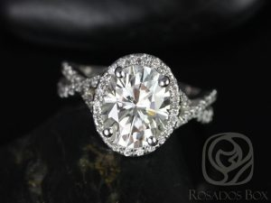 Thelma 10x8mm 14kt White Gold Oval F1- Moissanite and Diamond Twisted Halo Engagement Ring