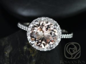 Kubian 9mm 14kt White Gold Round Morganite and Diamonds Halo Engagement Ring