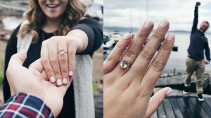 Couple on a pier showing their rose gold peach sapphire engagement ring
