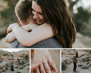 Engaged couple on the beach showing their rose gold moissanite engagement ring