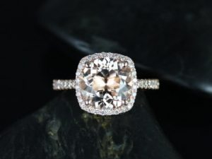 Barra 9mm 14kt Rose Gold Morganite and Diamonds Cushion Halo Engagement Ring