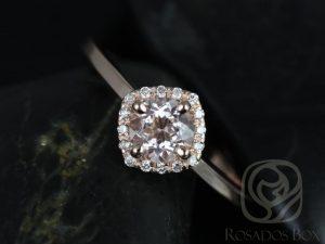 Rosados Box Ready to Ship Kyla 5mm 14kt Rose Gold Morganite and Diamond Cushion Halo Engagement Ring