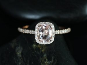 Romani 7x5mm 14kt Rose Gold Morganite and Diamonds Cushion Halo Engagement Ring