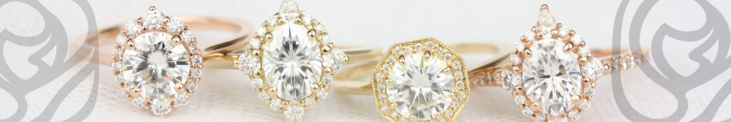 A row of Rosados Box engagement rings
