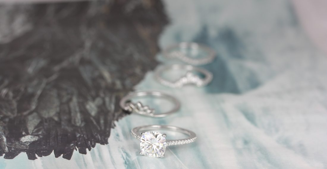 Diamond engagement rings with different gem cuts by Love & Promise Jewelers