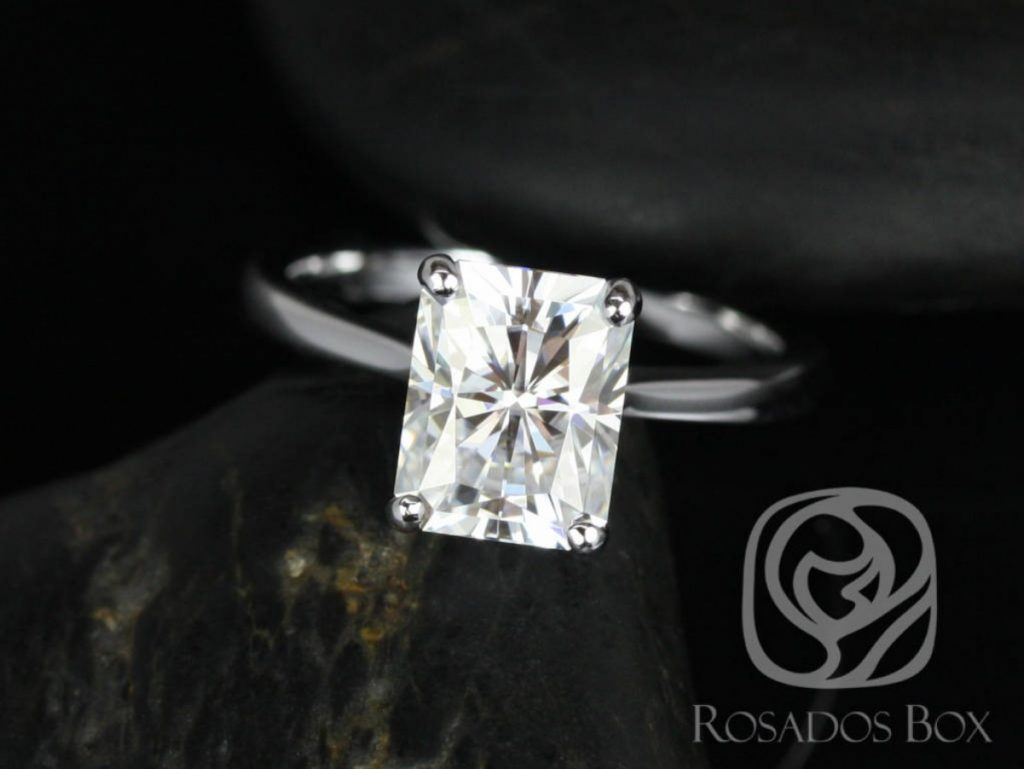 Rosados Box Skinny Nancy 9x7mm 14kt White Gold Radiant F1- Moissanite Tulip Cathedral Solitaire Engagement Ring